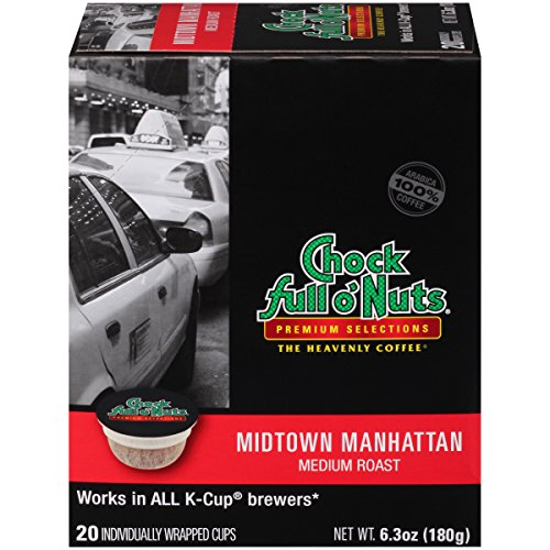 Chock Fullest completely o'Nuts Coffee, Midtown Manhattan Medium Roast, Single Serve Coffee Cups, 20 Count, 6.3 Oz