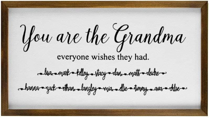 Grandparents Gifts,You Are The Grandma Everyone Wishes They Had Rustic Wood Wall Sign,Hanging Wood Sign With Frame,quote saying words Sign Decor for Garden,Personalized Party Funny Quotes Label
