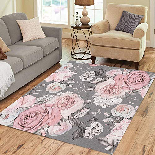 Pinbeam Area Rug Pink Flowers and Leaves on Gray Watercolor Floral Home Decor Floor Rug 5' x 7' Carpet