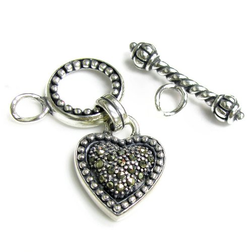 1 set Bali .925 Sterling Silver Marcasite Heart Dangle Connector Pendant Charm Toggle Clasp With Closed Loop / Findings / Antique