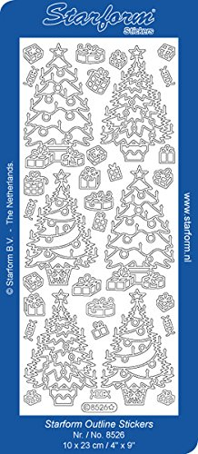 Elizabeth Craft Designs Decorated Christmas Trees Peel Off Stickers 4x9 Sheet: - Offs Peel Christmas