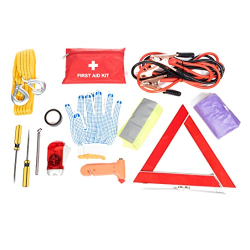 Safety Vest /& More Ideal Winter Accessory for Your Car Roadside Assistance Car Emergency Kit Rain Coat First Aid Kit Jumper Cables Truck Or SUV Tow Rope Tire Pressure Gauge LED Flash Light
