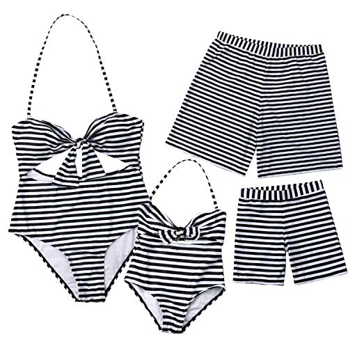 Family Matching Swimwear Mommy and Me Striped Cutout Tie Knot Front One Piece Swimsuit Monokini Dad Son Swim Trunks