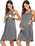 Wildtrest Post Delivery Nightgowns Women Hospital Breastfeeding Gown Dress (Gray, Large)