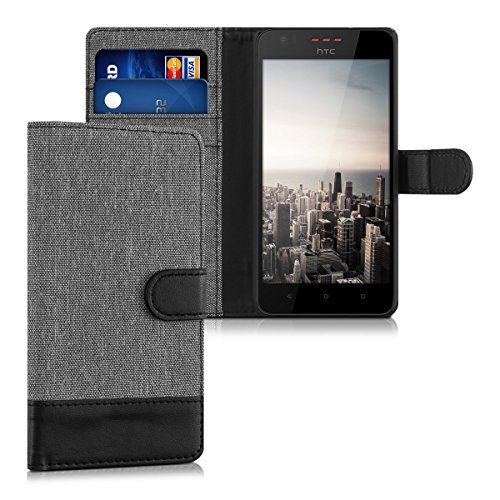 kwmobile Wallet Case for HTC Desire 530 - Fabric and PU Leather Flip Cover with Card Slots and Stand - - Htc Phone Wallet Desire