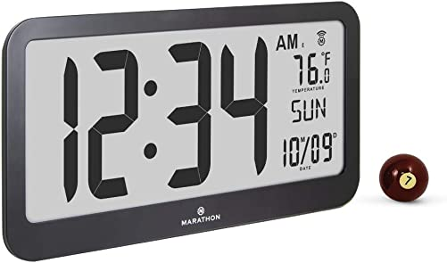 Marathon CL030033JUMBO-BK Slim Jumbo Panoramic Atomic Wall Clock with Date and Indoor Temperature Black