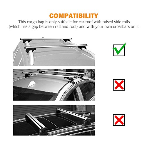 AUXMART Waterproof Rooftop Cargo Bag (15 cu. ft.) - Roof Top Soft Luggage Carrier for SUV/Van/Car (Straps to Roof Rack Crossbars or a Roof Basket) by AUXMART (Image #5)