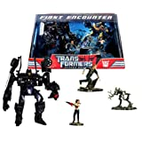 Hasbro Year 2007 Transformers Movie Screen Battles Series Robot Action Figure Scene Set - FIRST ENCOUNTER with Deluxe Class 6' Tall BARRICADE (Vehicle Mode: Saleen S281 Police Car) Plus Decepticon Frenzy, Mikaela Banes and Sam Witwicky Mini Figures