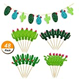 48 Pieces Cactus Cupcake Toppers Cupcake Picks and 1 Pack Cactus Banner for Fiesta West Cacti Theme Birthday Party Supplies Baby shower Decoration