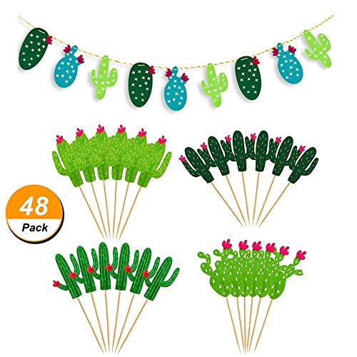 48 Pieces Cactus Cupcake Toppers Cupcake Picks and 1 Pack Cactus Banner for Fiesta West Cacti Theme Birthday Party Supplies Baby shower Decoration by Living Show