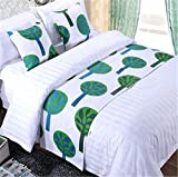 YIH Bed Runner Green Tree With Cushion Cover, Luxury Hotel Wedding Room Bedroom Decorative Bed End Scarf Protector Slipcover Pad For Pets, 62 Inches By 19 Inches