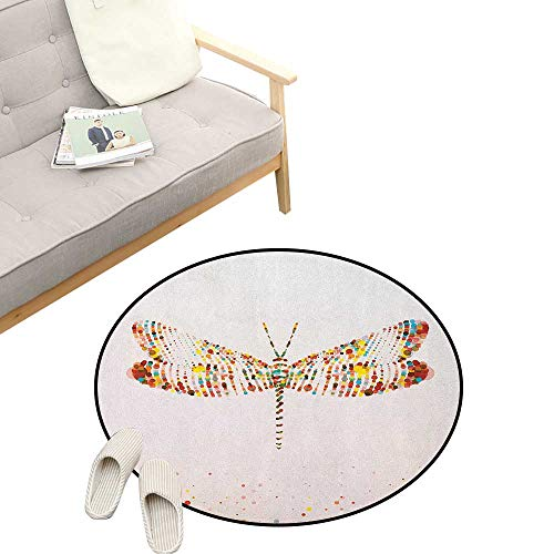 "Dragonfly Custom Round Carpet ,Majestic Dragonfly Shape with Colorful Tiny Little Dot Effects Imaginary Modern Design, The Custom Round Non-Slip Doormat 23"" inch Multi"