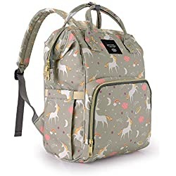 Diaper Bag Backpack for Mom / Dad,Wide Open Multi-Function Waterproof Travel Backpack Nappy Bags for Baby Care, Large Capacity, Stylish and Durable,Lightweight,Unicorn Diaper Bag for Boys/Girls,Gray