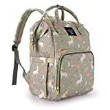 quenya Diaper Bag Backpack,Wide Open Multi-Function Waterproof Travel Backpack Nappy Bags for Baby Care, Large Capacity, Stylish and Durable,Lightweight,Unicorn Diaper Bag for Boys/Girls,Gray