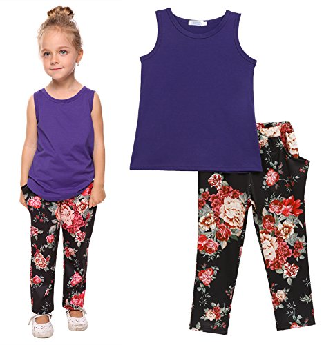 Price comparison product image Arshiner Toddler Baby Kids Girls Summer 2PCS Sets Outfits Sleeveless Shirt/Tops and Floral Pants with Pockets, Purple, 100(Age for 3-4Years)
