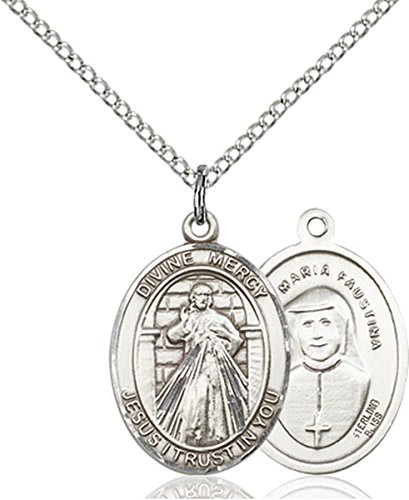 Mercy Medal - Sterling Silver Divine Mercy Medal Pendant, 3/4 Inch