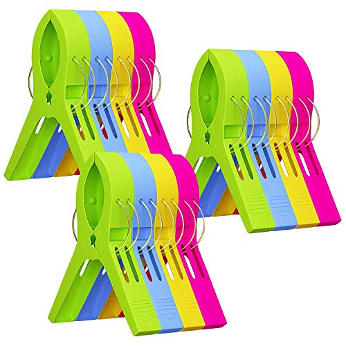 (Attmu Beach Towel Clips (12 Pack), Towel Holder in Fun Bright Colors, Keep Towel from Blowing Away)