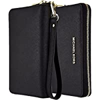 Michael Kors Saffiano Leather Large Zipper Multifunction Wallet Case, Luxury Pouch for iPhone 6 Plus, 7 Plus, 8 Plus, S7 Edge. S8 Edge, or Any Large Smarphones - Black