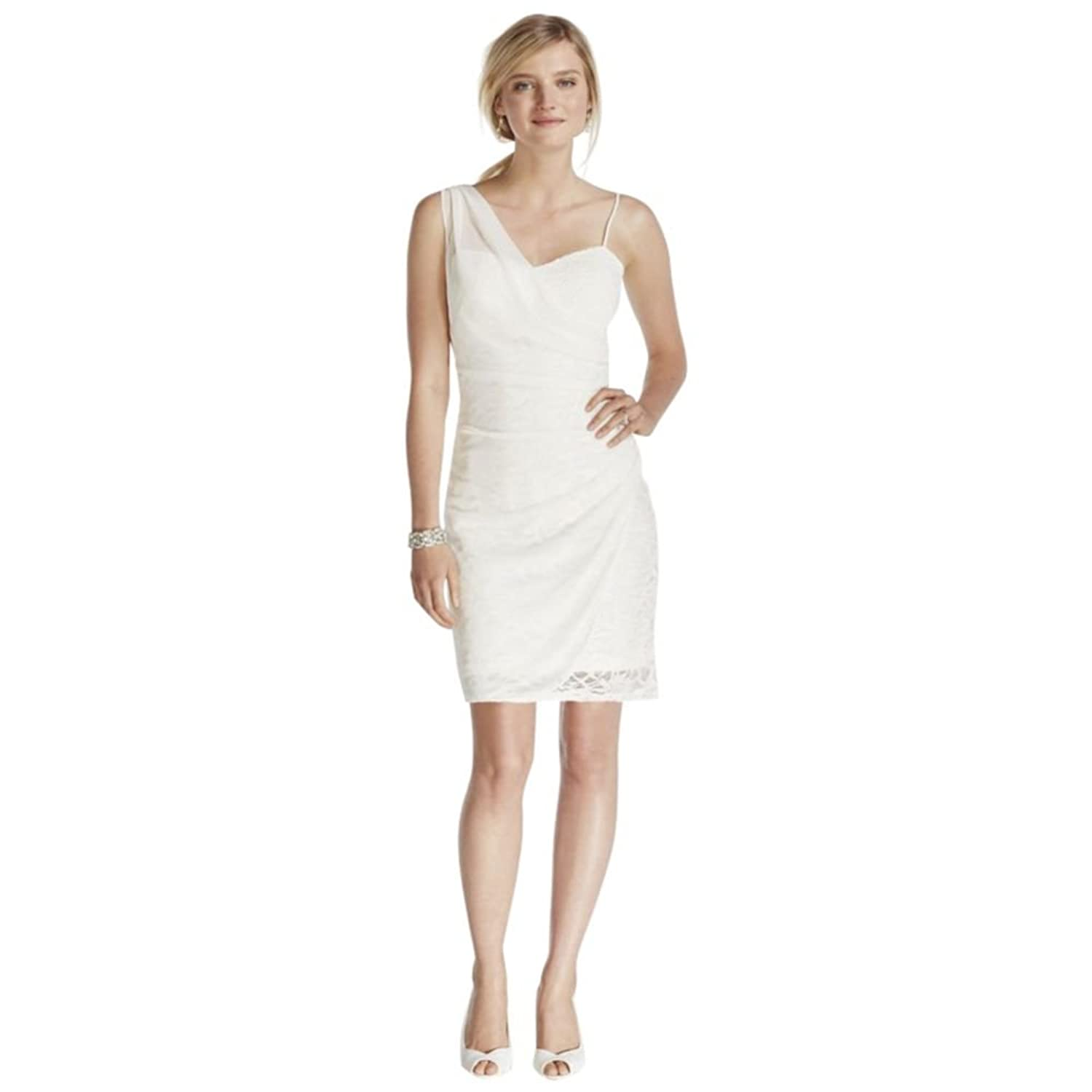 Davids Bridal Short Lace Dress With Sheer Mesh Overlay Style 46611