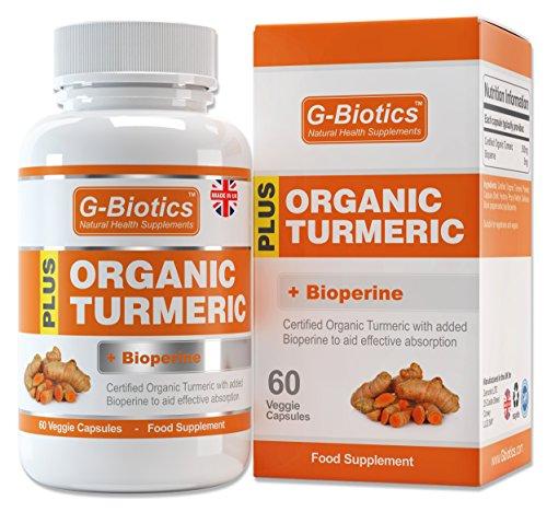G-Biotics zertifizierte biologische Kurkuma Kapseln mit dem Zusatz von Bioperine (Schwarzer Pfeffer) ~ EXTRA HOCHWERTIGES Nahrungsergänzungsmittel