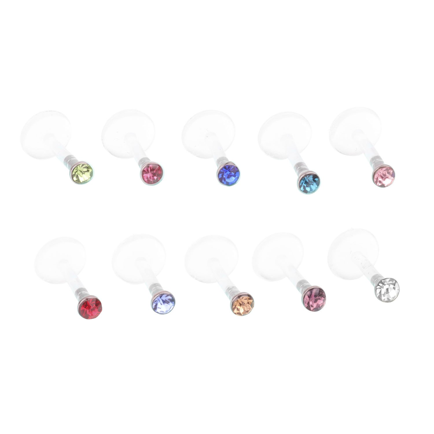 Fashion Body FB 16G 6mm Length Clear UV Flexible Acrylic Labret Lip Ring Tragus Helix Cartilage Earring Stud Barbell Piercing Jewelry……