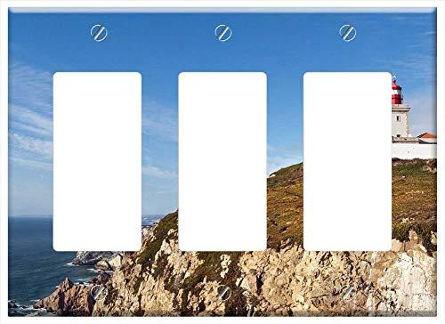 Switch Plate Triple Rocker/GFCI - Portugal Sintra Ocean Sea Nature Coast Summer 1