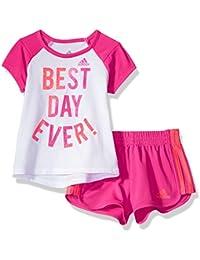 Baby Girl's Short Sleeve Tee and Short Set Baby Costume, White, 12M