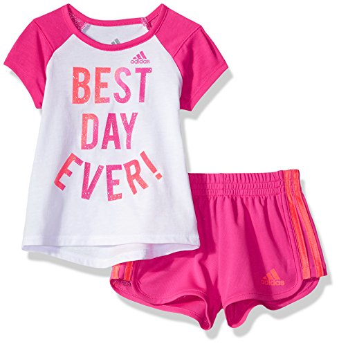 Price comparison product image adidas Baby Girl's Short Sleeve Tee and Short Set Baby Costume, White, 6M