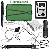 Qualyteo Tactical, Hiking, Camping Survival Kit - 11 in 1 Outdoor Tactical Gear to keep you SAFE   Hiking Tips Ebook Included, Emergency Blanket, Bracelet, Credit Card Tool, flashlights & more