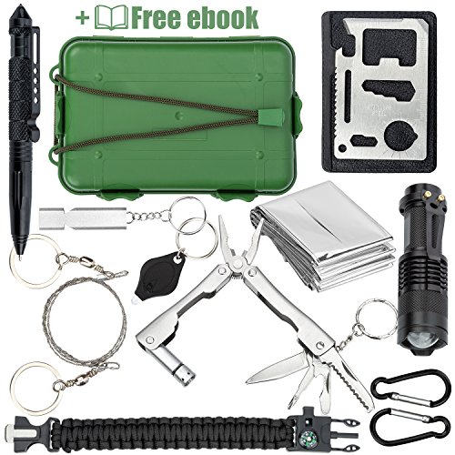 Saber Cut Saw - Qualyteo Emergency Survival Kit | 30 in 1 Outdoor, Camping, Hiking, Tactical Survival Kit with EM Blanket, Wire Saw, Paracord Bracelet, Credit Card Tool & more | 77-page Hiking Tips Ebook Included