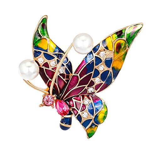 - Gabrine Womens Girls Fashion Jewelry Rhinestone Crystal Pearl Insect Animal Enamel Butterfly Brooch Breastpin Sweater Pin Lapel Pin for Bridal Party Prom