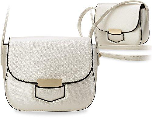 Borsa A Tracolla Piccola Elegante Borsa Da Donna Tracolla Rigida Design Bianco Perla