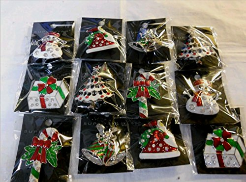 12PCS/Pack Rhinestone Crystal Christmas Brooch Pin Set for Christmas Decorations Ornaments Gifts