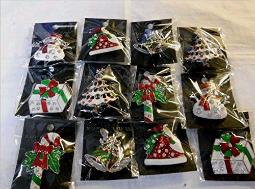 12PCS/Pack Rhinestone Crystal Christmas Brooch Pin Set for Christmas Decorations Ornaments (Rhinestone Set Brooch)