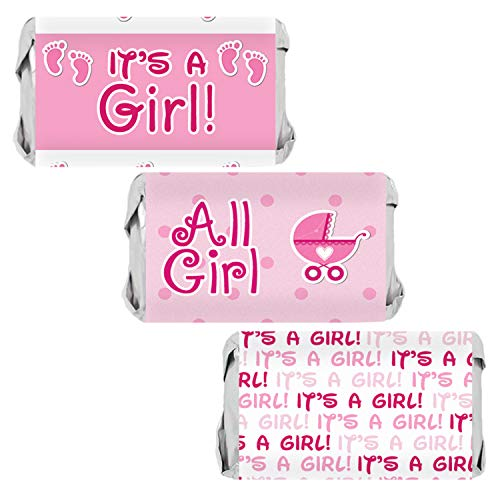 It's a Girl Baby Shower Mini Candy Bar Wrappers | Pink Footprint Theme | 54 Stickers -