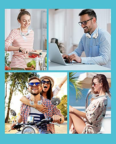 Portable Personal Fan,Update Style Headphone Design 4000mAh Adjustable 3 Speed Neck Fan With Usb Rechargeable Leafless 360 Degree Free Rotation Wearable Fan For Outdoor Indoor White