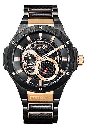 Automatic Chronograph Rose - Men's Military Automatic Mechanical Chronograph Watch Stainless Steel Bracelet (Black-Rose Gold)