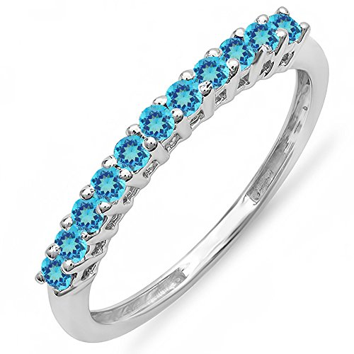 0.33 Carat (ctw) 10K White Gold Round Blue Topaz Anniversary Wedding Band 1/3 CT (Size 7)