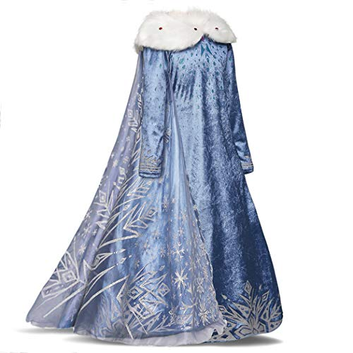 (AmzBarley Queen Elsa Costume for Girls Fancy Party Dress-Up Outfits Blue Winter Dress Age 3-4 Years Size 4T)