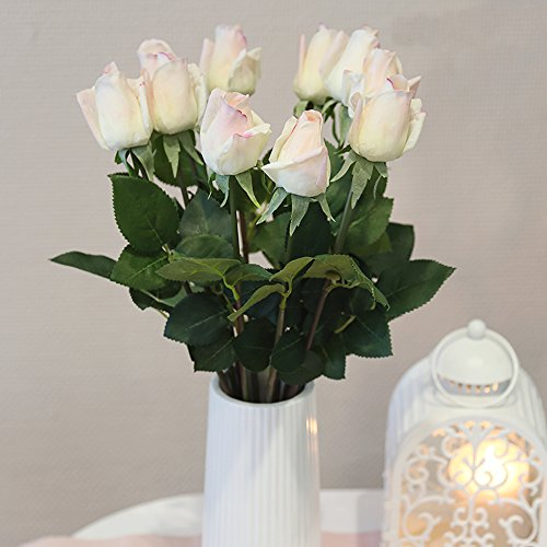 12pcs Latex Moisturizing Roses of Real Touch Natural Artificial Flowers Roses Realistic Color for Wedding/Home Decor or As a Gift to Wife/Mother/Friend(19 Inch-Milk White) (Silk Flowers Prima)