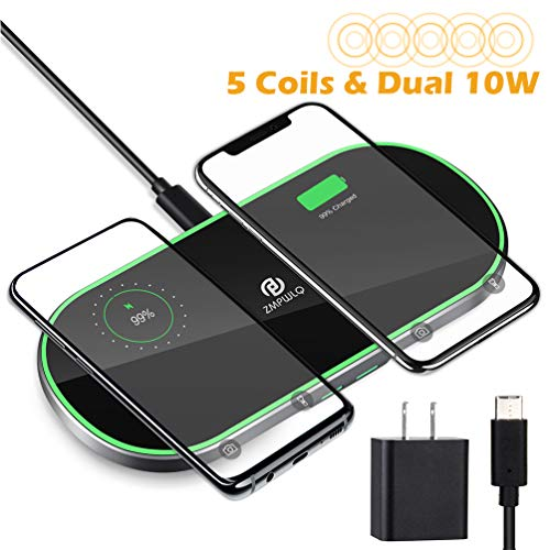 Dual-Wireless-Charger 5 Coils Fast-Wireless Charging Pad Wireless-Phone-Charger Cell Phone Wireless Charger 10W 7.5W 5W Compatible with iPhone 11 X XS Max Samsung Galaxy Note USB C Adapter Included