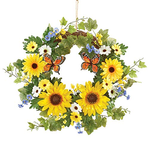 Collections Etc Butterfly and Sunflower Decorative Wreath - Seasonal Window or Door Accent for Any Room in Home