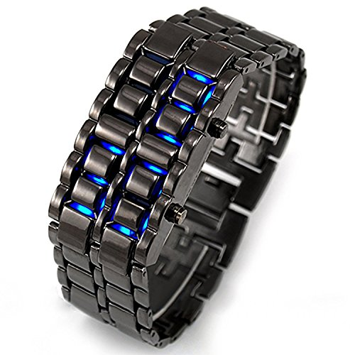 LSVTR Unisex Stainless Steel Lava Blue LED Digital Bracelet Watch (Black)