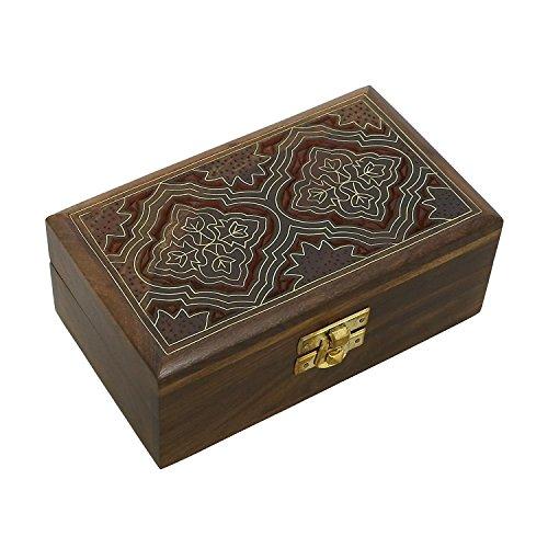 Hashcart Indian Artisan, Handmade & Handcrafted Wooden Jewelry Box/Jewelry Storage Organizer/Trinket Jewelry Box with Traditional Design and Brass Inlay - Box Trinket Brass