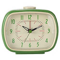 Lily's Home Quiet Non-ticking Silent Quartz Vintage/Retro Inspired Analog Alarm Clock (Green)