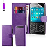 32nd® Book wallet PU leather flip case cover for BlackBerry Classic Q20 - Purple