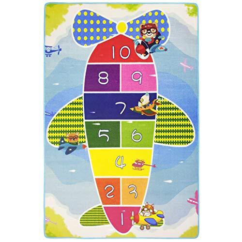 USTIDE Colorful Hopscotch Plane Kids Rug Antiskid Gel Backing Rug Designer Children's Rugs 3'x5'