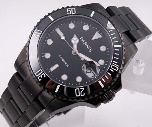 Fanmis Black Dial Pvd Ceramic Bezel Men Womens Automatic Watch Sapphire Glass Glass Folding (Dial Pvd Bezel)
