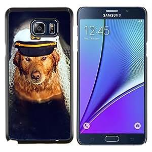Caucho caso de Shell duro de la cubierta de accesorios de protecci¨®n BY RAYDREAMMM - Samsung Galaxy Note 5 5th N9200 - Perro del golden retriever Capit¨¢n Mar Barco