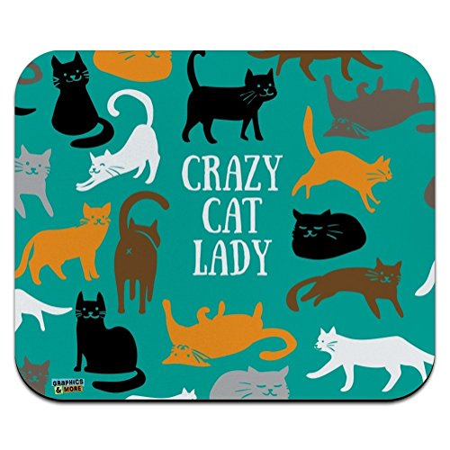 Crazy Mouse Pad (Crazy Cat Lady Teal Orange Black Brown Low Profile Thin Mouse Pad Mousepad)